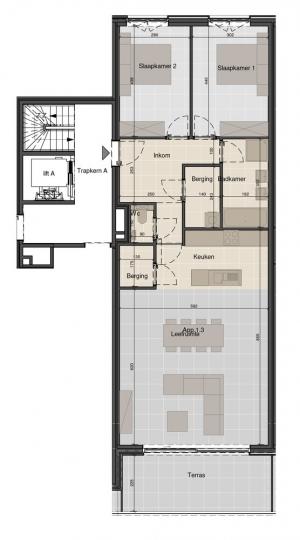 Ruim appartement op de eerste verdieping