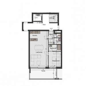 1-slaapkamer appartement op de 2de verdieping
