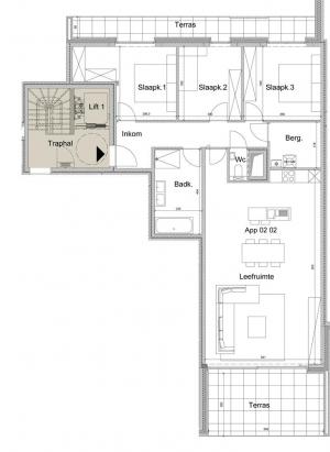 Ruim 3-slaapkamer appartement op het tweede verdiep