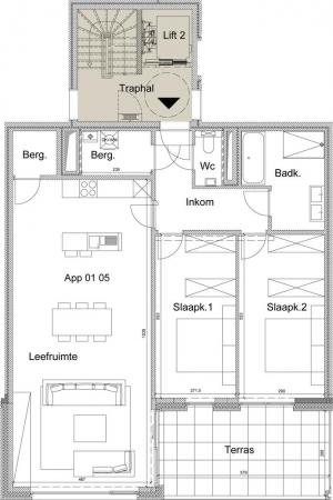 Appartement op eerste verdiep
