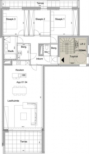 Ruim 3 slaapkamer appartement op eerst verdiep