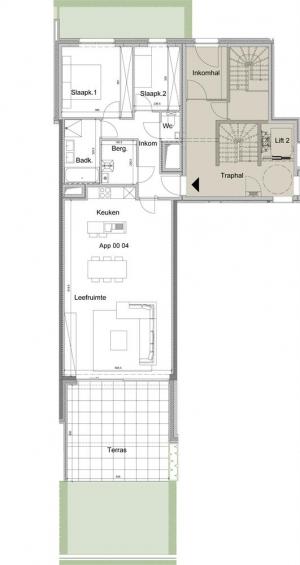 Gelijkvloers appartement 0.04