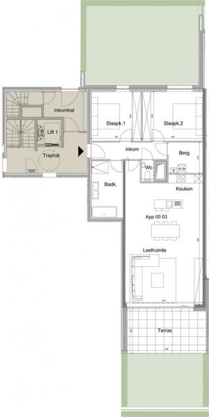 Gelijkvloer appartement 0.03
