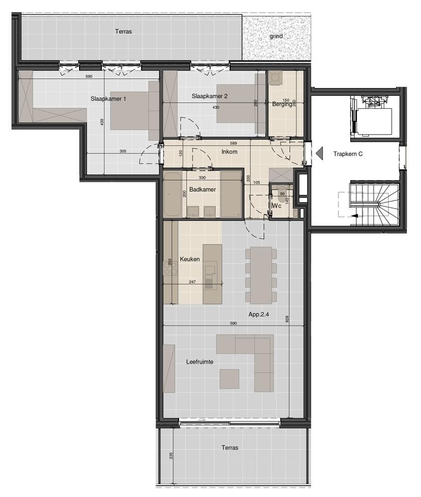 Ruim appartement op de bovenste verdieping